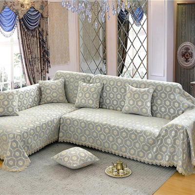 沙发罩 180*150 蕉叶纹-银灰