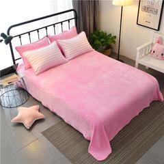 法莱绒床单单件 枕套1对 无印良品粉条