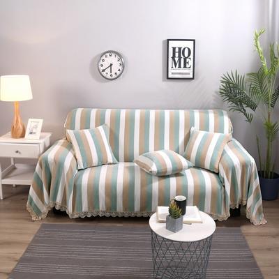 2018新款-沙发巾 180*150 彩条-绿驼