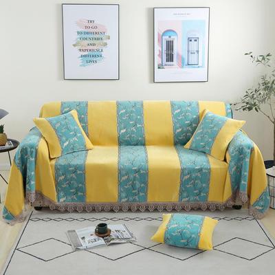 2020新款雪尼尔沙发巾花型1 180*150cm 北欧风情-黄
