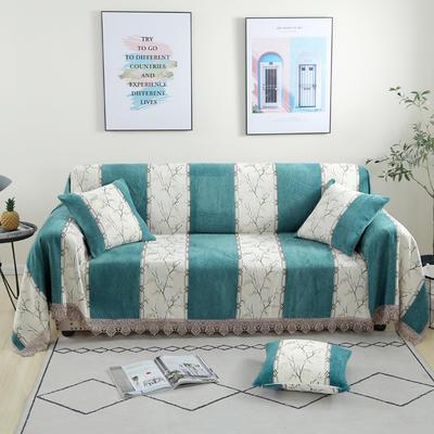 2020新款雪尼尔沙发巾花型1 180*150cm 北欧风情-绿