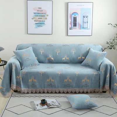 2020新款雪尼尔沙发巾花型1 180*150cm 麋鹿-蓝