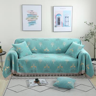 2020新款雪尼尔沙发巾花型1 180*150cm 麋鹿-绿
