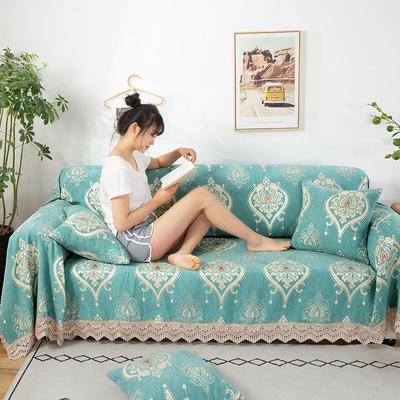 2020新款雪尼尔沙发巾花型2 180*150cm 水绿图腾