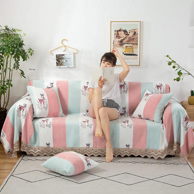 2020新款雪尼尔沙发巾花型2 180*150cm 粉蓝小鹿