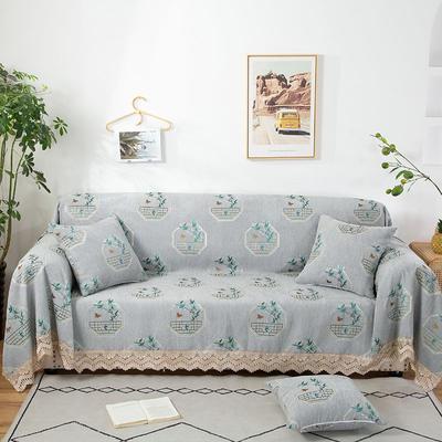 2020新款雪尼尔沙发巾花型2 180*150cm 清雅绿竹