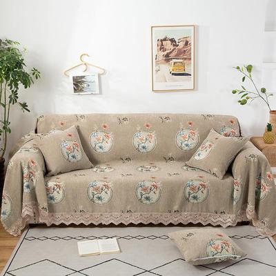 2020新款雪尼尔沙发巾花型2 180*150cm 梅上枝头-驼