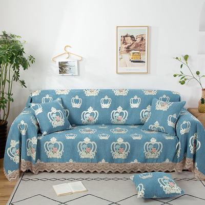 2020新款雪尼尔沙发巾花型2 180*150cm 蓝色皇冠