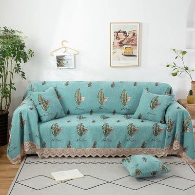 2020新款雪尼尔沙发巾花型2 180*150cm 绿色羽毛