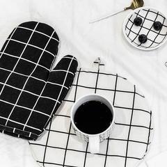 圆形棉麻隔热垫 直径25.5cm 格子(白)