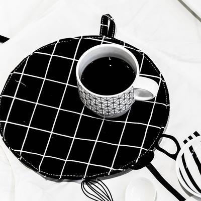圆形棉麻隔热垫 直径25.5cm 格子(黑)