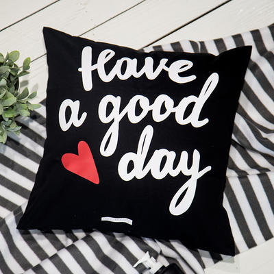 靠垫套(45*45cm) GOOD DAY(黑)