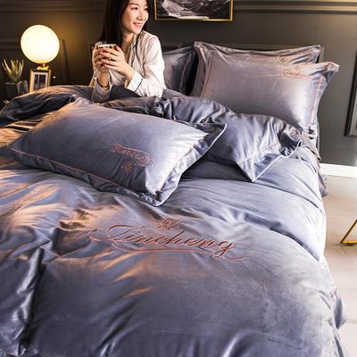 2018新款-北欧风绣花刺绣水晶绒四件套 1.8m(6英尺)床 浅灰