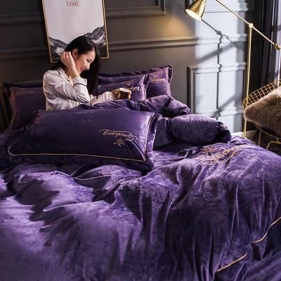 2018新款-北欧风绣花刺绣水晶绒四件套 1.8m(6英尺)床 薰衣草紫