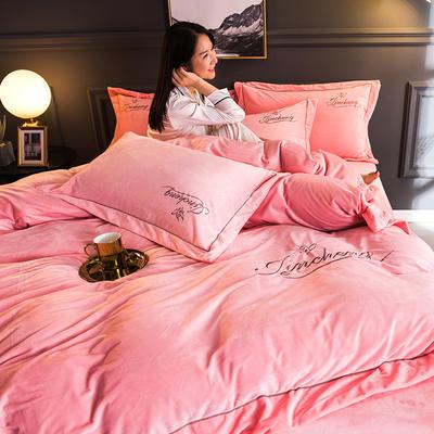 2018新款-北欧风绣花刺绣水晶绒四件套 1.8m(6英尺)床 玉色