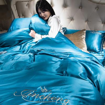 2019新款-水洗真丝刺绣四件套 1.8m(6英尺)床 孔雀蓝