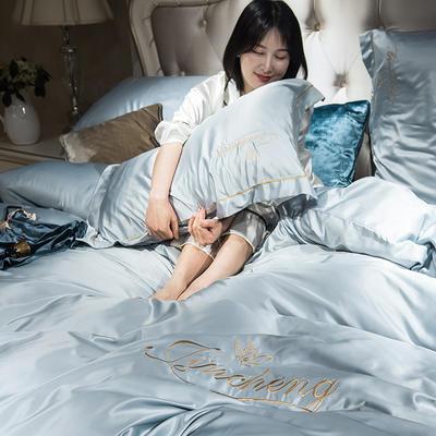2019新款-水洗真丝刺绣四件套 1.8m(6英尺)床 浅灰