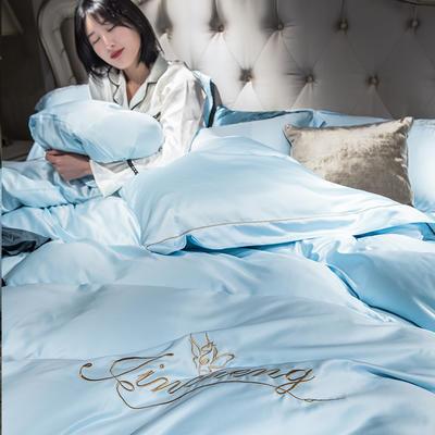 2019新款-水洗真丝刺绣四件套 1.8m(6英尺)床 水蓝