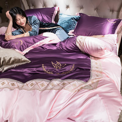 2019新款-水洗真丝蕾丝花边款四件套 床笠款1.8m(6英尺)床 高贵紫
