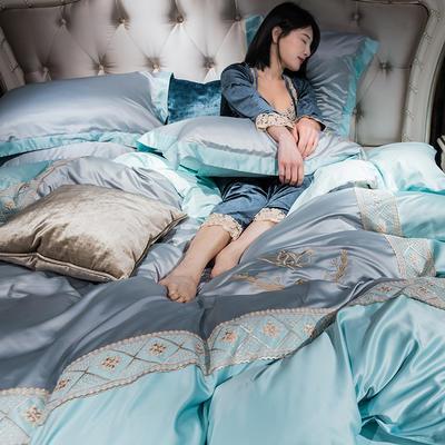2019新款-水洗真丝蕾丝花边款四件套 床笠款1.8m(6英尺)床 湖蓝