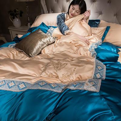 2019新款-水洗真丝蕾丝花边款四件套 床笠款1.8m(6英尺)床 金色