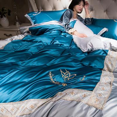 2019新款-水洗真丝蕾丝花边款四件套 床笠款1.8m(6英尺)床 孔雀蓝