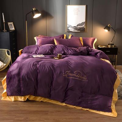 2019新款-渃卡丝水晶绒法兰绒牛奶绒宝宝绒绣花保暖四件套 1.2m(4英尺)床 素色拼角-高贵紫