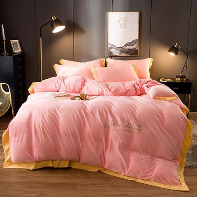 2019新款-渃卡丝水晶绒法兰绒牛奶绒宝宝绒绣花保暖四件套 1.2m(4英尺)床 素色拼角-玉色