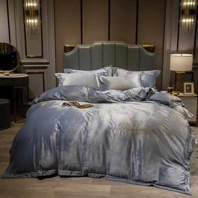 2019新款-水晶绒法兰绒牛奶绒宝宝绒绣花保暖四件套 1.2m(4英尺)床 浅灰