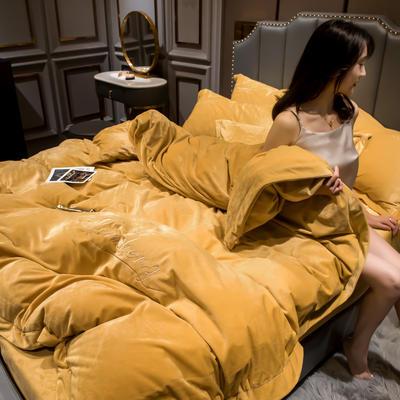 2019新款-水晶绒法兰绒牛奶绒宝宝绒绣花保暖四件套 1.8m床四件套(床单款) 姜黄
