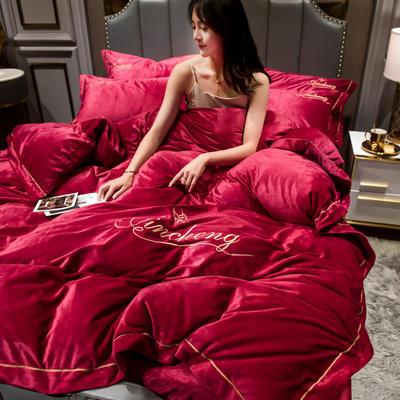 2019新款-水晶绒法兰绒牛奶绒宝宝绒绣花保暖四件套 1.8m床四件套(床单款) 酒红