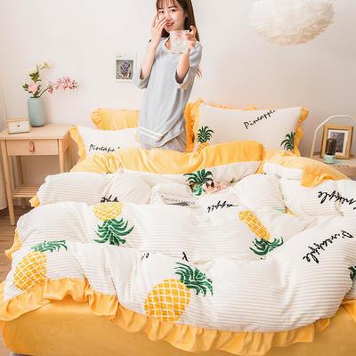 2019新款-印花魔法绒四件套 床单款三件套1.2m(4英尺)床 菠萝蜜