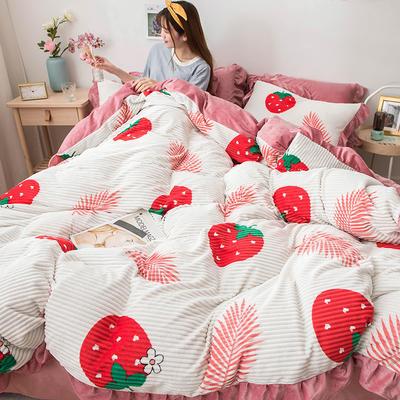 2019新款-印花魔法绒四件套 床单款三件套1.2m(4英尺)床 草莓