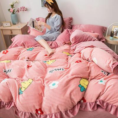 2019新款-印花魔法绒四件套 床单款三件套1.2m(4英尺)床 胡萝卜