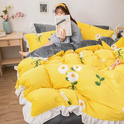 2019新款-印花魔法绒四件套 床单款三件套1.2m(4英尺)床 花海