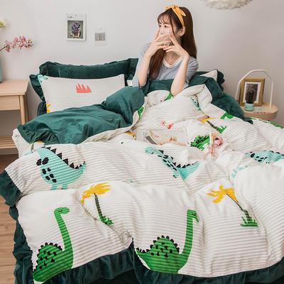 2019新款-印花魔法绒四件套 床单款三件套1.2m(4英尺)床 恐龙乐园