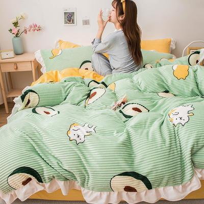 2019新款-印花魔法绒四件套 床单款三件套1.2m(4英尺)床 牛油果