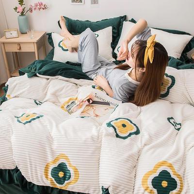 2019新款-印花魔法绒四件套 床单款三件套1.2m(4英尺)床 四叶草