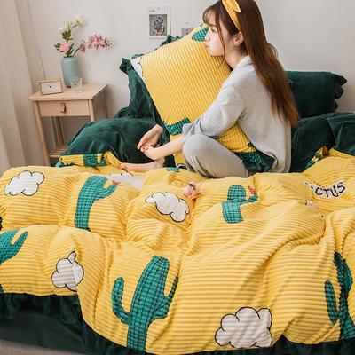 2019新款-印花魔法绒四件套 床单款三件套1.2m(4英尺)床 仙人掌