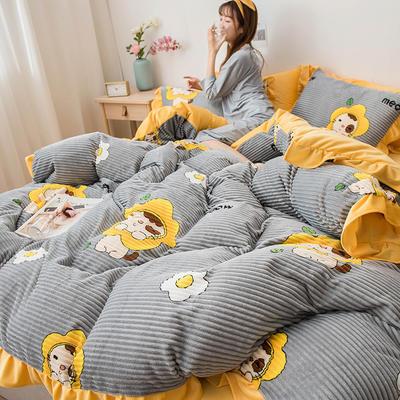 2019新款-印花魔法绒四件套 床单款三件套1.2m(4英尺)床 小狮子
