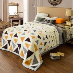 凤凰林毛毯 双层拉舍尔毛毯 绅士701  灰三角 几何 白三角 大三角 科沙 云朵 星云 150*200-4斤 白三角