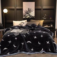 凤凰林毛毯 双层拉舍尔毛毯 绅士701  灰三角 几何 白三角 大三角 科沙 云朵 星云 150*200-5斤 星月
