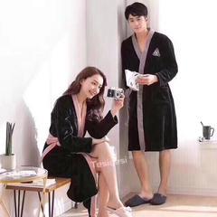 情侣款浴袍 均码 黑色情侣款睡袍