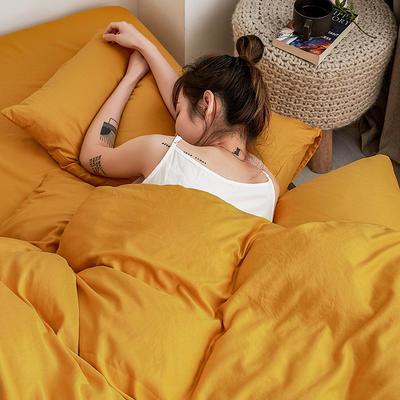 【总】oneday 水洗天丝四件套真丝床上用品 1.2m(4英尺)床 蜡笔黄