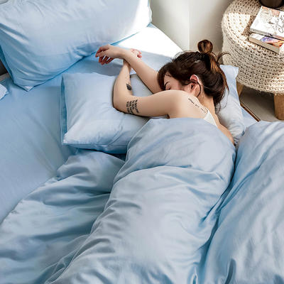 【总】oneday 水洗天丝四件套真丝床上用品 1.2m(4英尺)床 长滩蓝