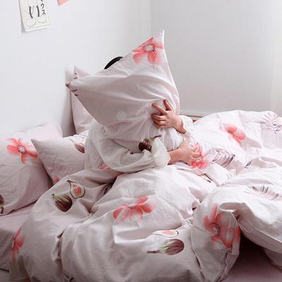 【总】oneday 纯棉四件套全棉床上用品 1.8m(6英尺)床 一朵粉色