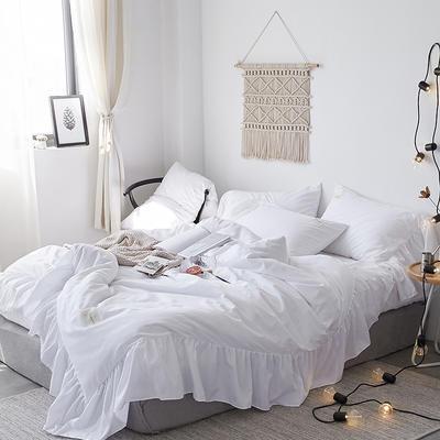 【总】oneday磨毛四件套美人鱼花边床上用品 1.8m(6英尺)床 如初