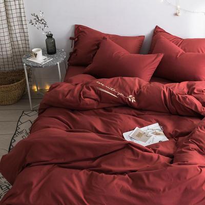 【总】oneday 磨毛四件套系带刺绣床上用品 1.2m(4英尺)床 可可