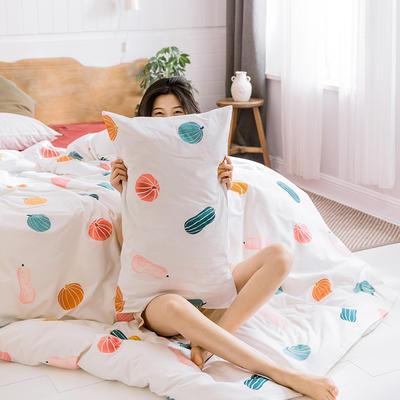 【总】oneday 纯棉四件套全棉床上用品 1.2m(4英尺)床 奶油南瓜