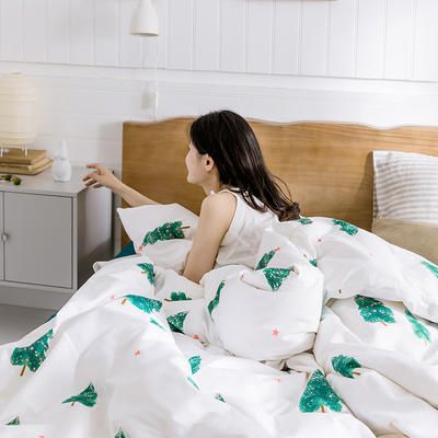 【总】oneday 纯棉四件套全棉床上用品 1.2m(4英尺)床 四季奶青